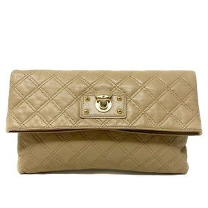 Marc Jacobs Calf Leather Quilted Fold-Over Clutch